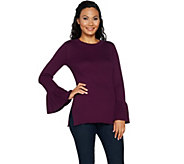 Du Jour Crew Neck Rib Knit Sweater with Bell Sleeves - A295382