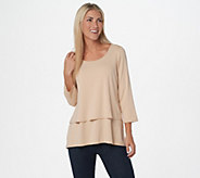 Joan Rivers Jersey Knit Layered Top with 3/4 Sleeves - A302582