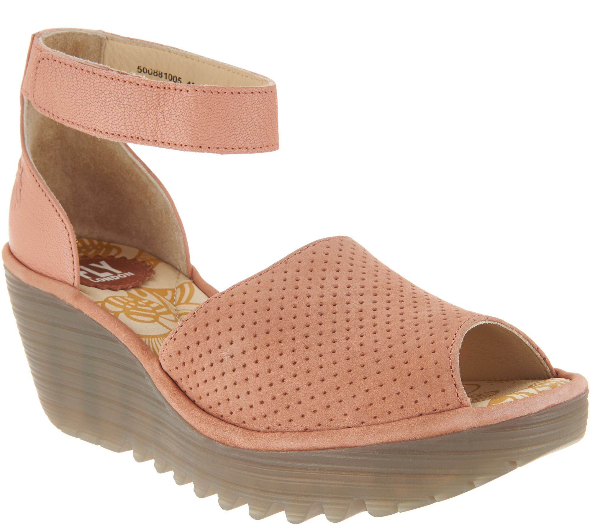 c6d941d38dc FLY London Perforated Leather Wedge Sandals - Yake - Page 1 — QVC.com
