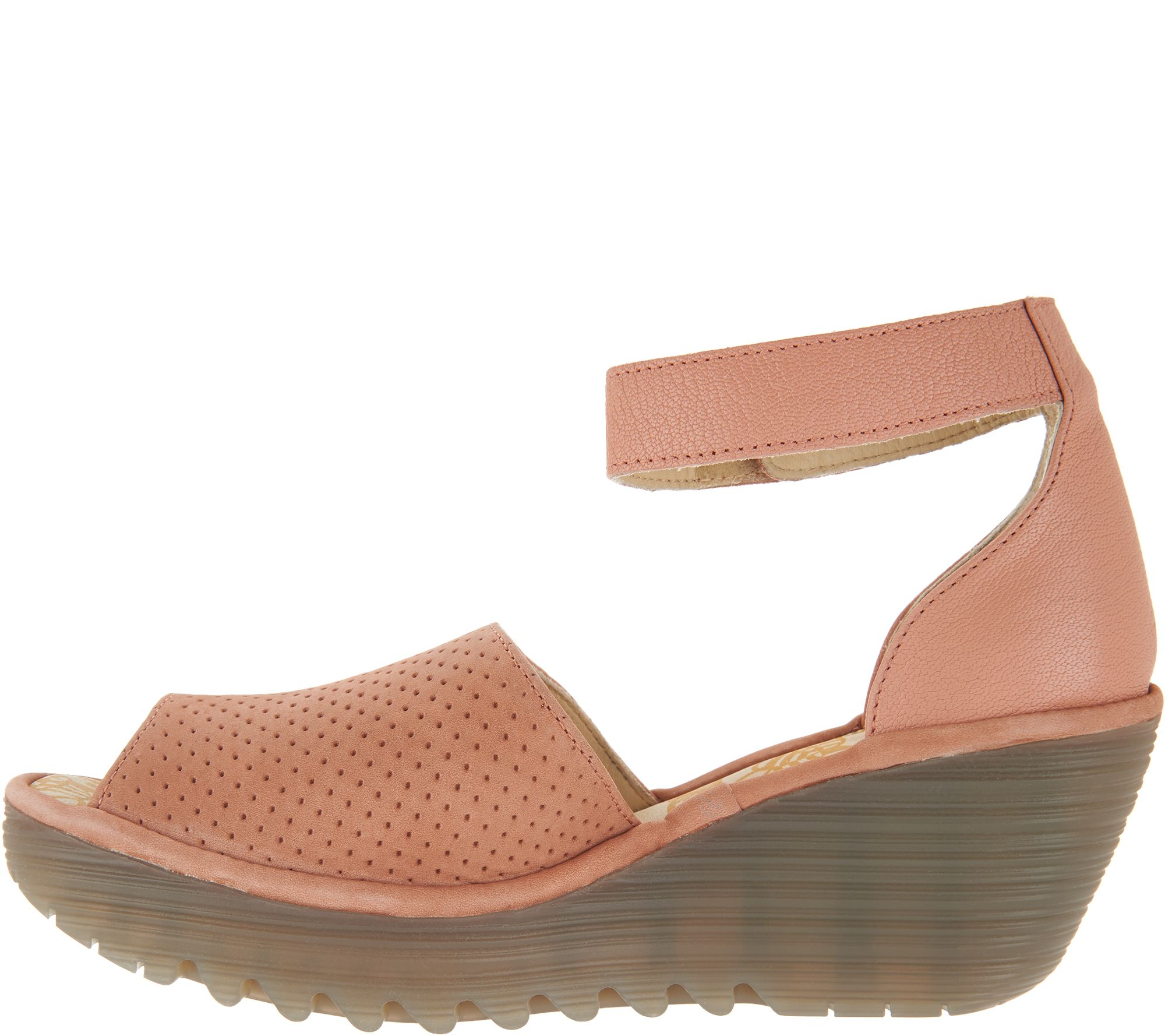 b24370405492 FLY London Perforated Leather Wedge Sandals - Yake - Page 1 — QVC.com