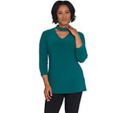 Susan Graver Artisan Textured Liquid Knit Tunic w/Beaded Neck - A310082