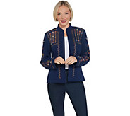 Dennis Basso Embroidered Luxe Crepe Cropped Jacket - A311282