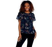 Vince Camuto Short Sleeve Smocked Garden Heirloom Floral Blouse - A343282