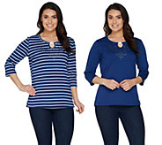 As Is Quacker Factory Keyhole Neck Set of 2 Knit T-Shirts - A344282
