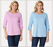 Quacker Factory Set of Two Knit T-Shirts with Faux Pearl Detail - A346682