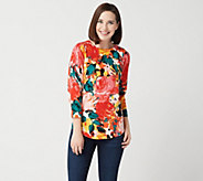 Isaac Mizrahi Live! Floral Printed Sweater with Curved Hem - A351082