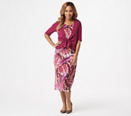 Denim & Co. Printed Jersey Sleeveless Midi Dress with Solid Shrug - A351582