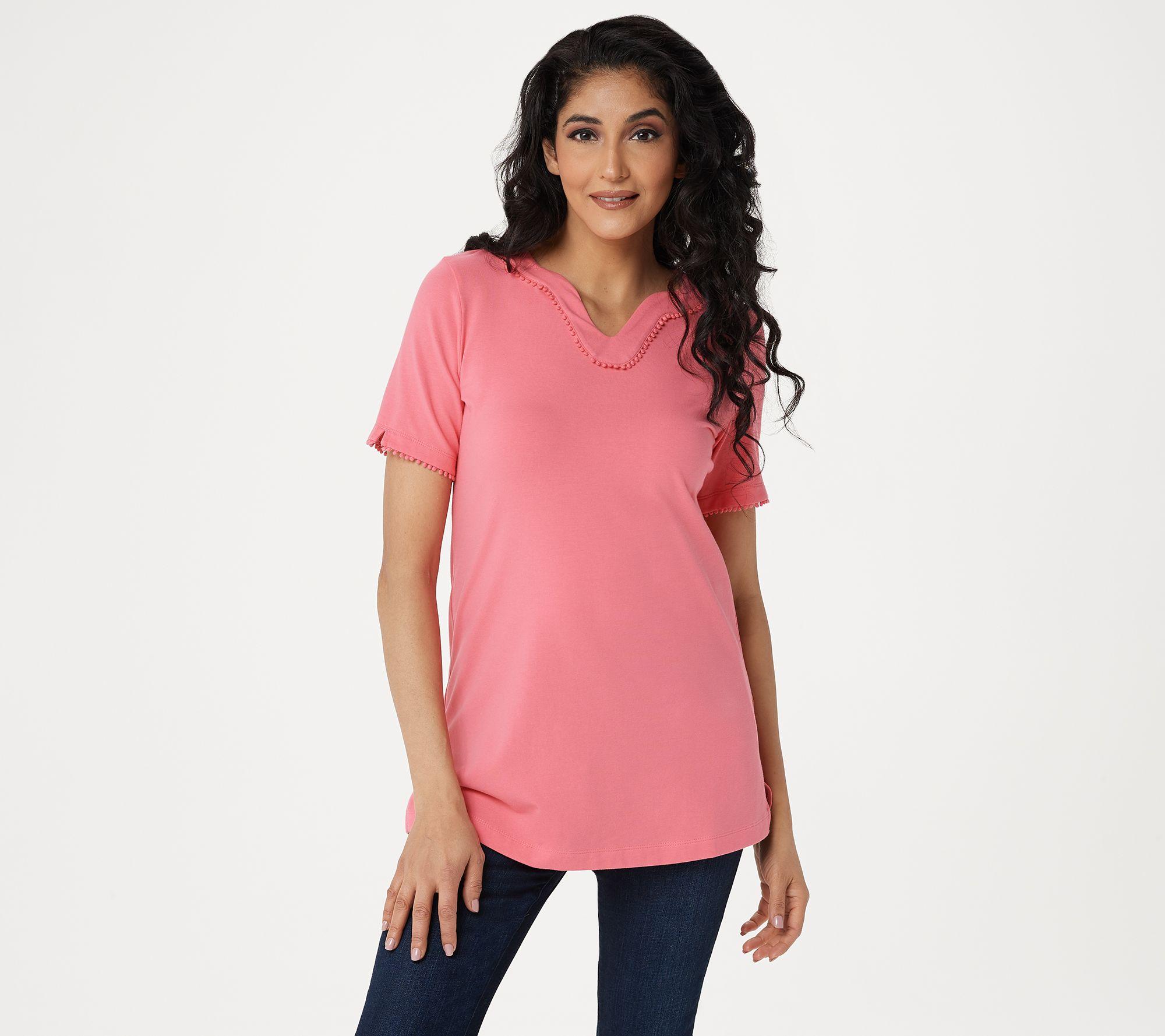 Denim /& Co Round Neck Top w// Lace Short Sleeves /& Pocket White Medium Size QVC