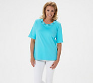 As Is Quacker Factory Knit Top Rhinestone Cut-Out Neckline - A373882