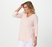 Joan Rivers V-Neck Slub Knit Top with Side Detail - A397482