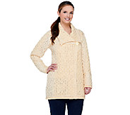 Aran Craft Merino Wool Colorblock One Button Long Cardigan - A238883