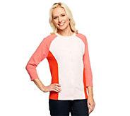 Liz Claiborne New York 3/4 Sleeve Color-Block Knit Cardigan - A240283