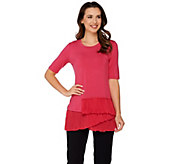 LOGO by Lori Goldstein Knit Top with Tiered Pleated Hem - A274983