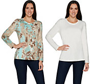 Denim & Co. Active Set of Two Perfect Jersey Round Neck Top - A285883