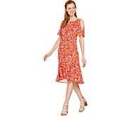 C. Wonder Nantucket Floral Print Cold Shoulder Woven Dress - A291083