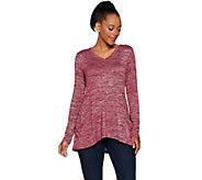 LOGO by Lori Goldstein Space Dye Knit V-Neck Long Sleeve Top - A294683
