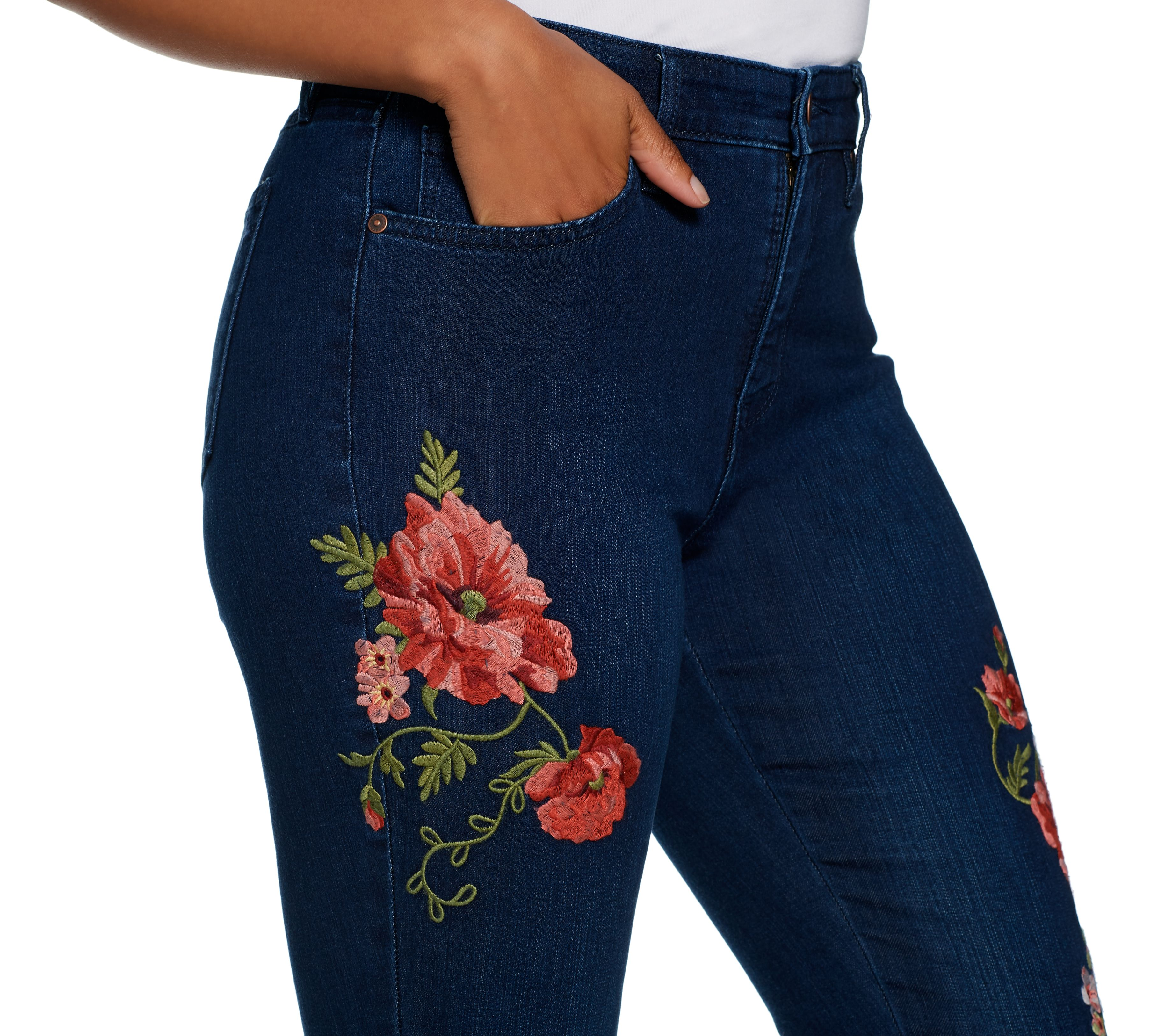 Martha Stewart Regular Floral Embroidered 5 Pocket Ankle Jeans Flower Val Pouch Kuning Page 1