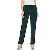 Susan Graver Petite Printed Liquid Knit Straight Leg Pants - A309483