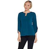 Susan Graver Liquid Knit Top with Tulip Sleeves and Ring Detail - A310083