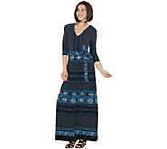 Attitudes by Renee Regular Como Jersey Printed Faux Wrap Maxi Dress - A310783