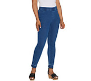 Isaac Mizrahi Live! Regular Knit Denim Slim Leg Jeans with Let Down Hem - A311583