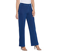 H by Halston Petite Knit Denim Pull-On Wide Leg Full Length Jeans - A345783