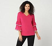 Susan Graver Liquid Knit Top with Sheer Chiffon Sleeves - A347083
