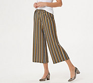 Joan Rivers Petite Pull-On Striped Cropped Pants - A349483