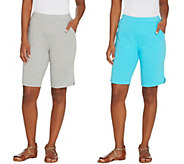 As Is Quacker Factory Set of Two Sparkle and Shine Knit Shorts - A349983