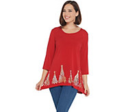 As Is Quacker Factory 3/4- Sleeve Sequin Tree Trapeze Hem Knit Top - A354383
