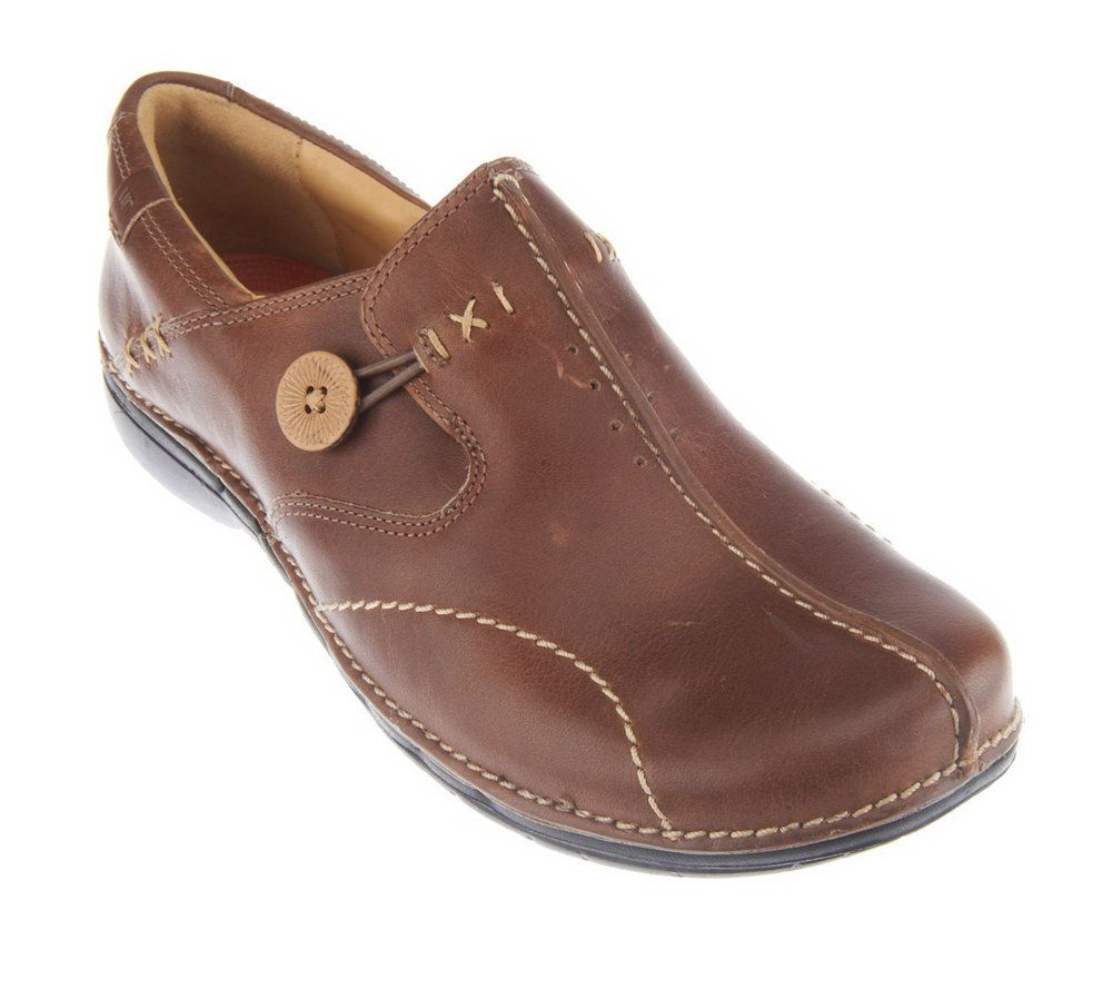 457db6a0 Clarks Unstructured Leather Slip-on Shoes - Un.Loop - Page 1 — QVC.com