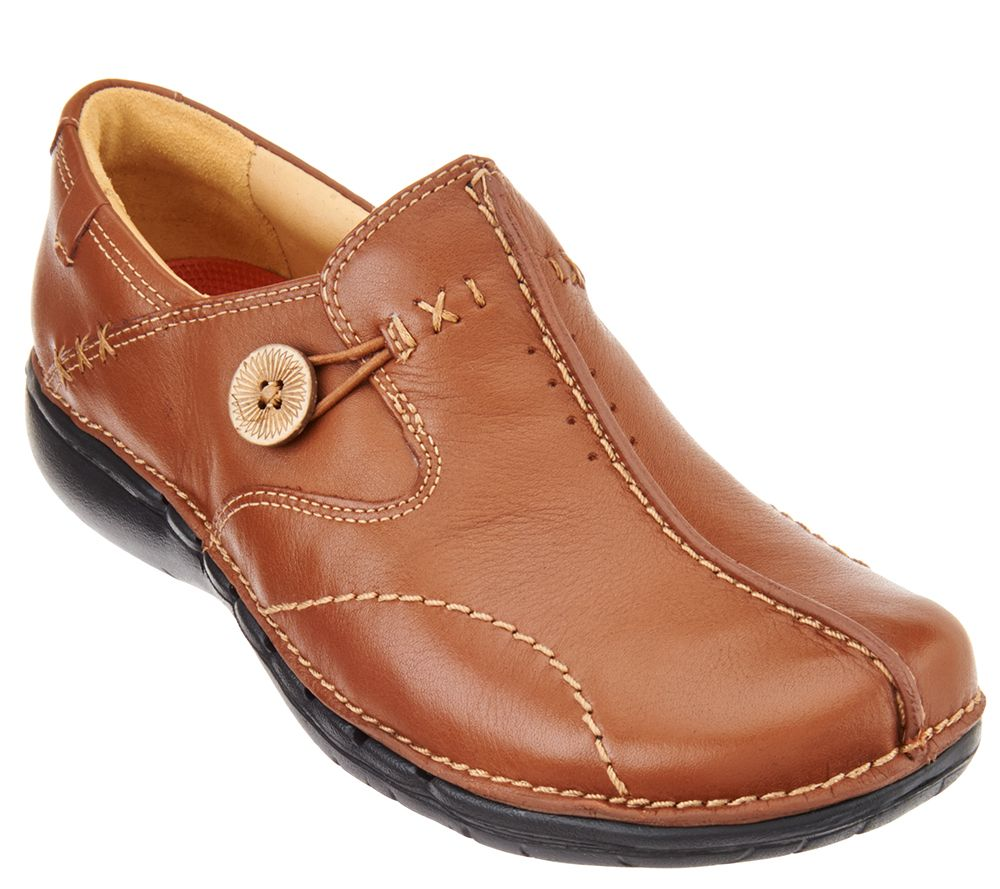 302f6808a2d Clarks Unstructured Leather Slip-on Shoes - Un.Loop — QVC.com