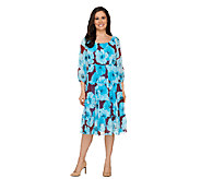 Linea by Louis DellOlio 3/4 Sleeve Floral Print Tiered Dress - A233184