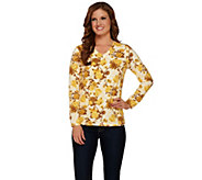 Denim & Co. Perfect Jersey Floral Print Long Sleeve Top - A261784