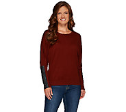 Lisa Rinna Collection Sweater with Faux Leather Detail - A267484