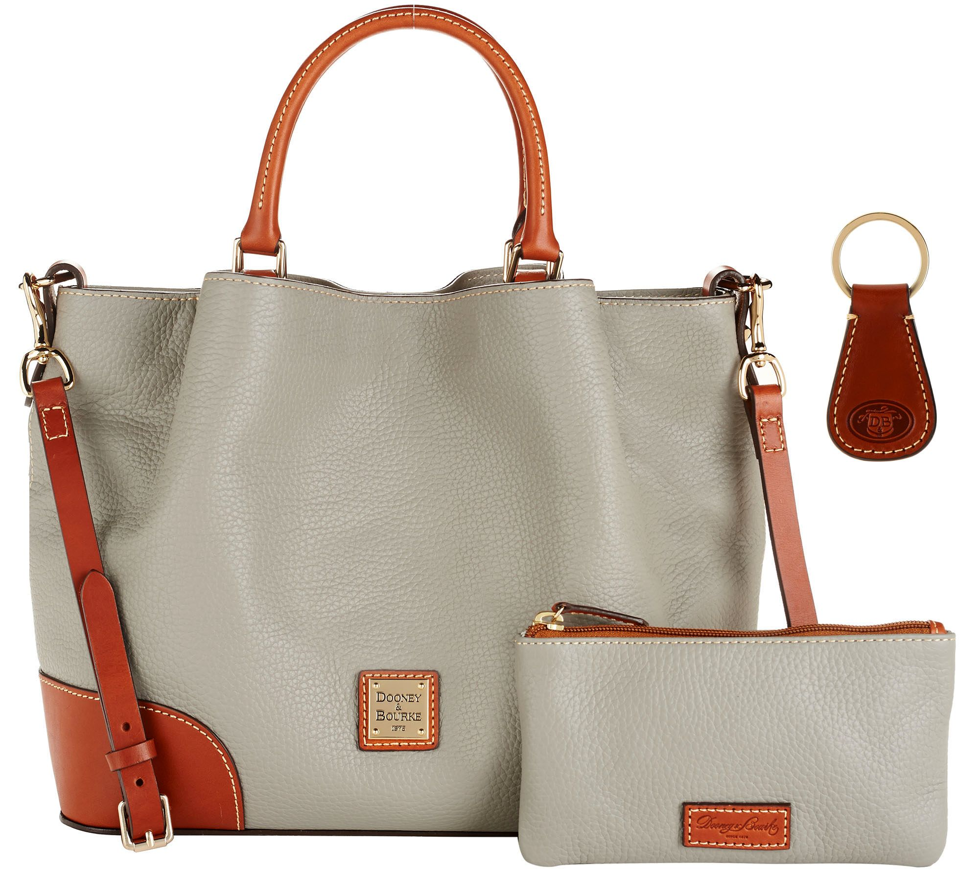 Dooney Bourke Pebble Leather Brenna Satchel With Accessories Page 1 Qvc