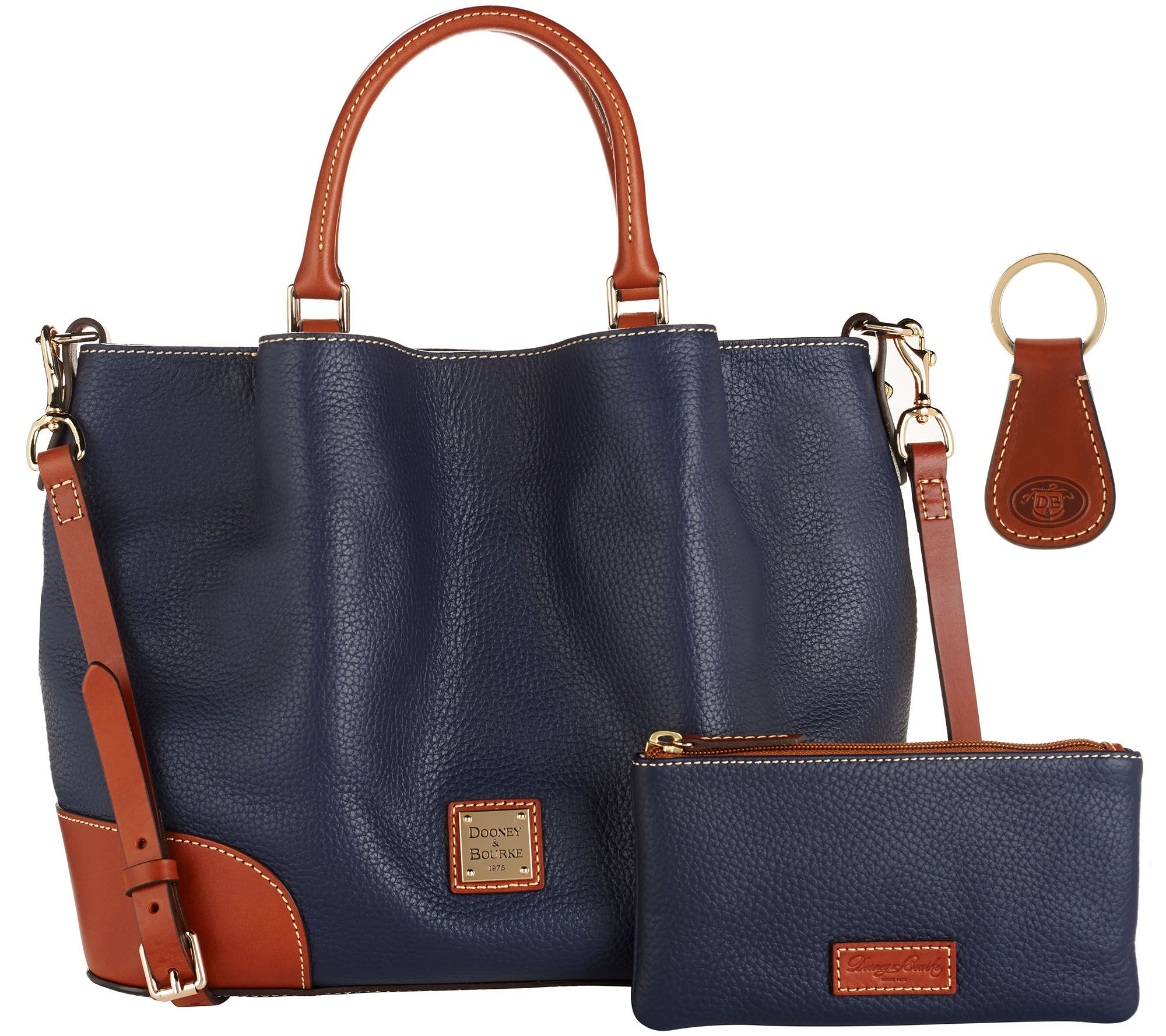 6430d3d8a438 Dooney   Bourke Pebble Leather Brenna Satchel with Accessories - Page 1 —  QVC.com