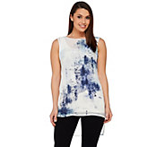 H by Halston Brushed Weave Print Woven Hi-Low Tunic - A273284