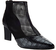 LOGO by Lori Goldstein Leather and Mesh Ankle Boots w/ Zipper - A280984