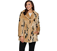 Dennis Basso Woven Minimal Lynx Faux Fur Coat with Collar - A285584