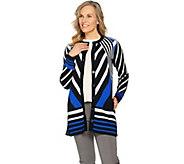 Isaac Mizrahi Live! Patchwork Stripe Jacquard Sweater Coat - A287084