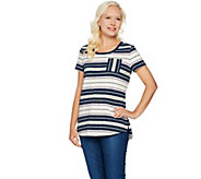 Isaac Mizrahi Live! TRUE DENIM Striped Slub Knit T-shirt - A292084