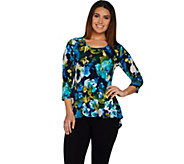 Susan Graver Printed Liquid Knit 3/4 Sleeve U-Neck Top - A298484