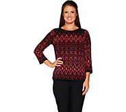 Bob Mackies Long sleeve Placement Print Knit Top - A298684