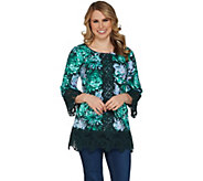 Isaac Mizrahi Live! Printed Tunic with Lace Details - A300884
