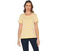 Denim & Co. Striped Round Neck Perfect Jersey Top with Lace Trim - A305184