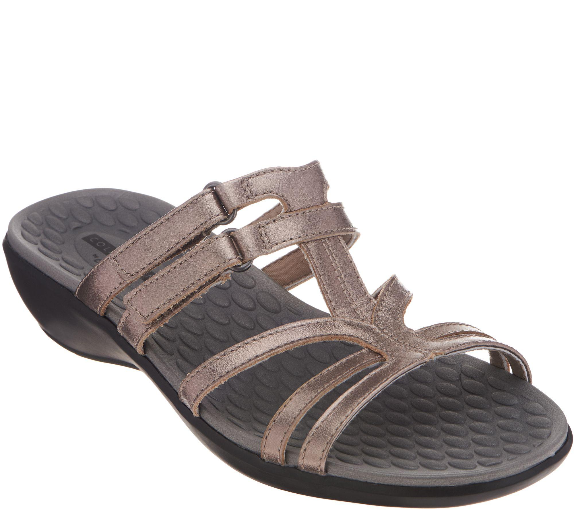 d54b17058921 Clarks Leather Adjustable Slide Sandals - Sonar Pilot - Page 1 — QVC.com