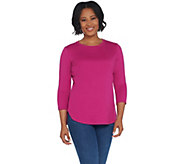 Isaac Mizrahi Live! Essentials 3/4 Sleeve Curved Hem Knit Top - A311384