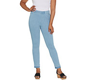 Isaac Mizrahi Live! Petite Knit Denim Slim Leg Jeans with Let Down Hem - A311584