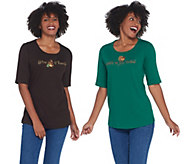 Quacker Factory Set of Two Embellished Scoop Neck Knit Tops - A341784